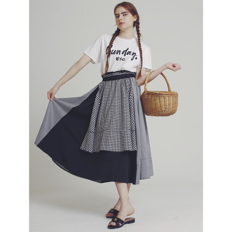 check×check design volume skirt