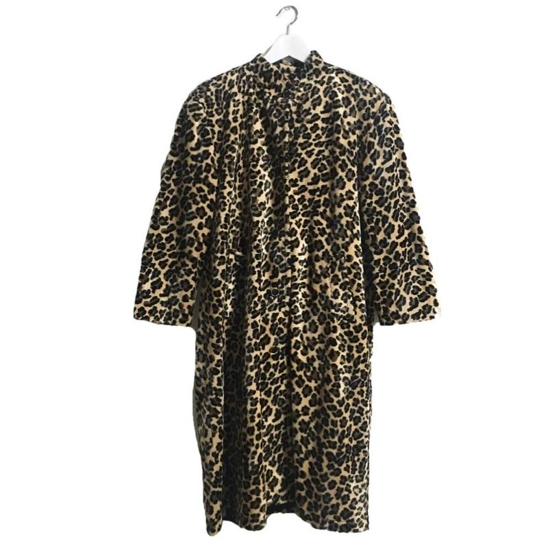leopard fur long coat