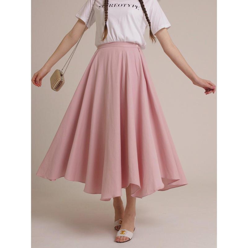 volume design flare skirt pink