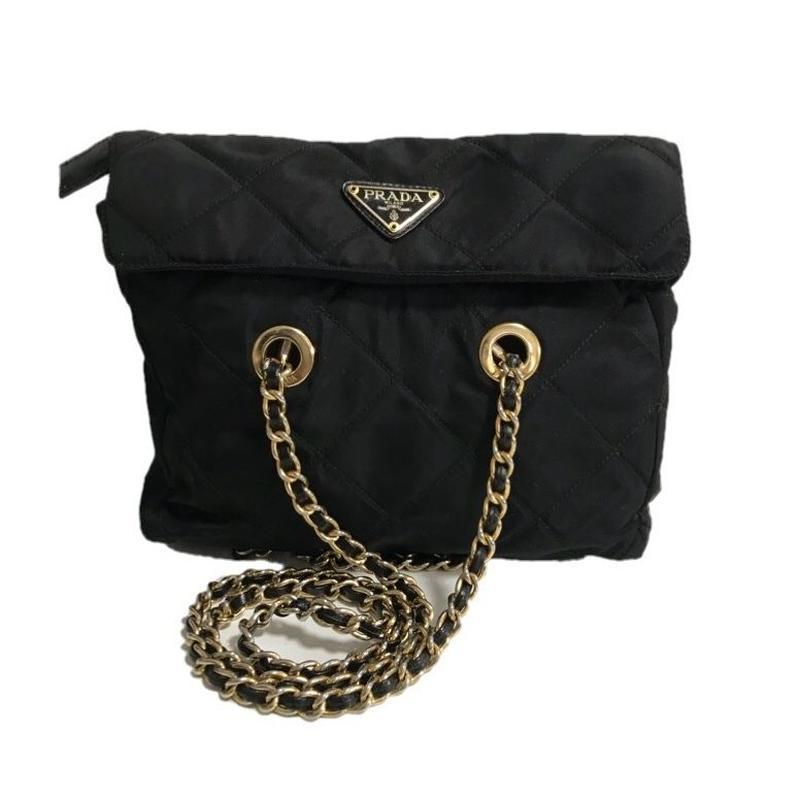 PRADA nylon chain bag black