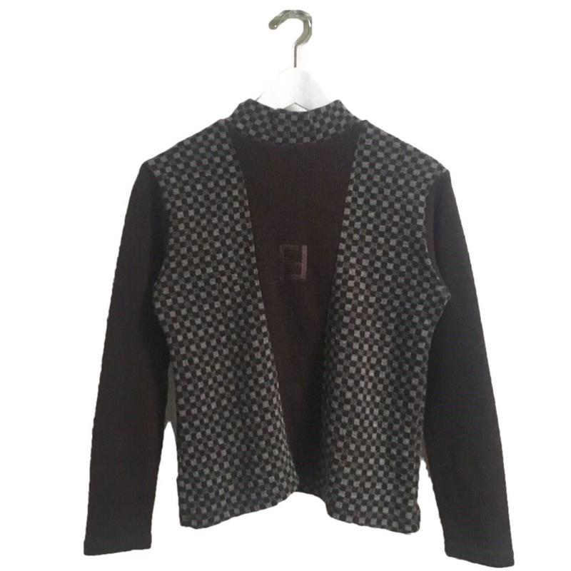 FENDI check highneck knit
