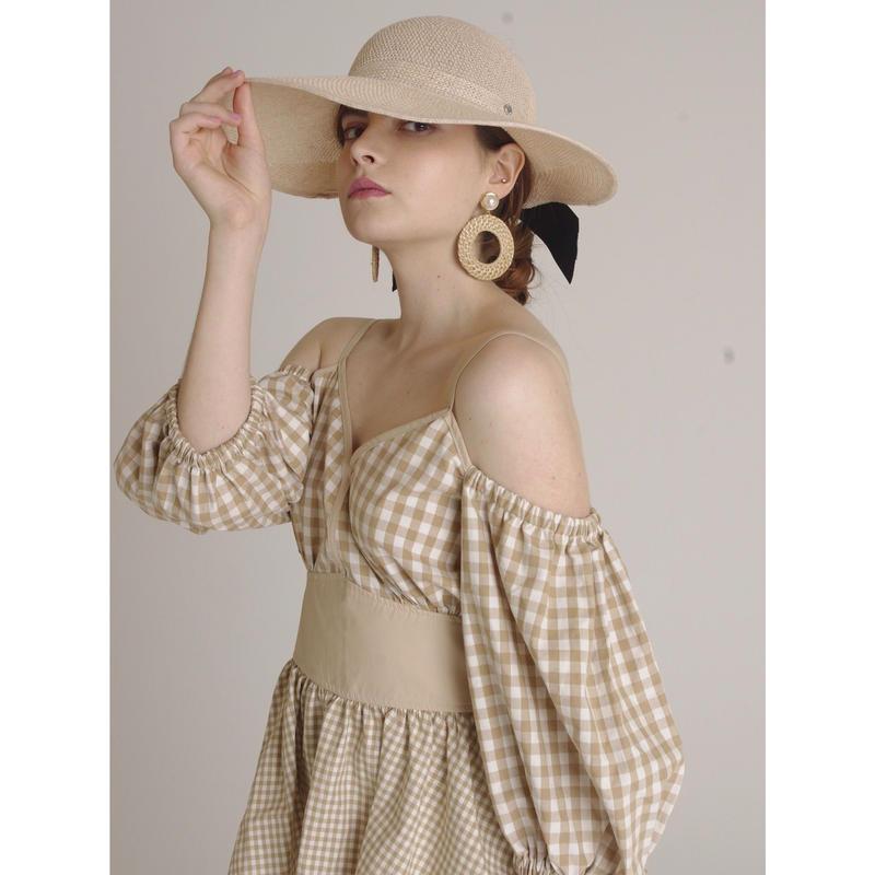 ribbon wide sun visor milk tea beige