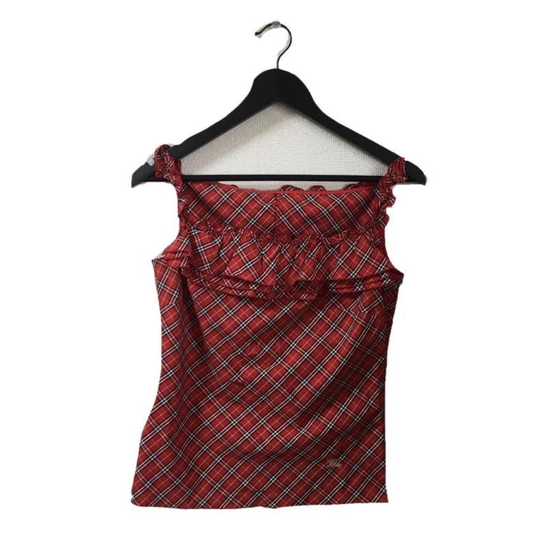 Burberry check design frill camisole red