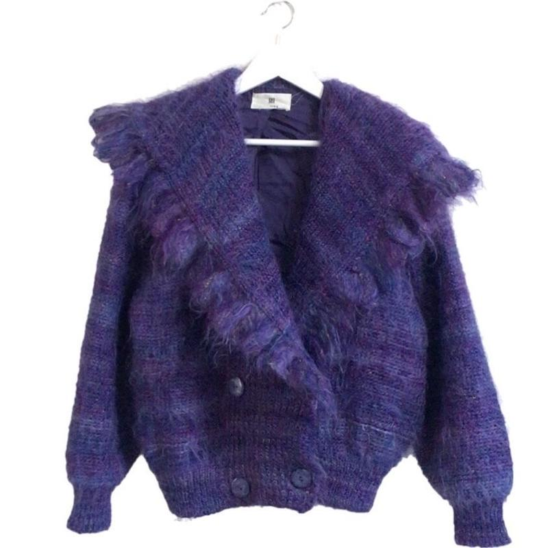 fringe design knit coat purple