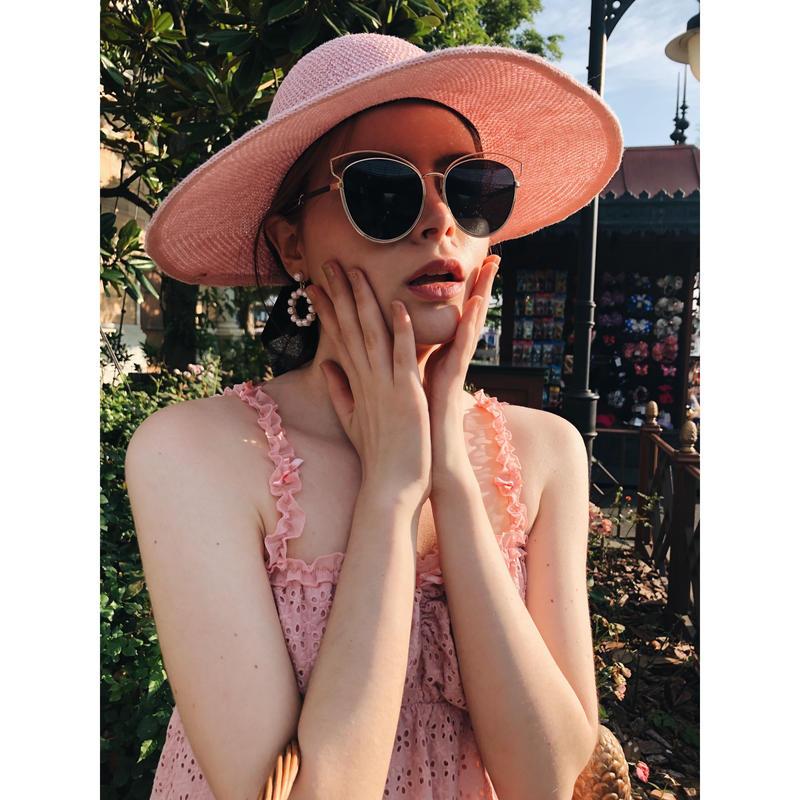 ribbon wide sun visor pink