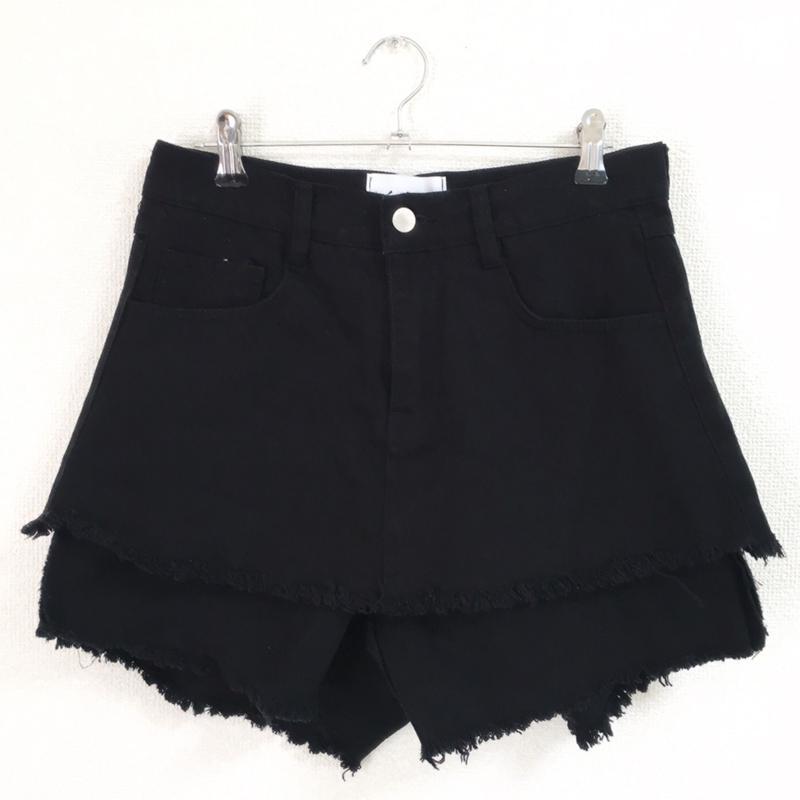 double fringe short pants