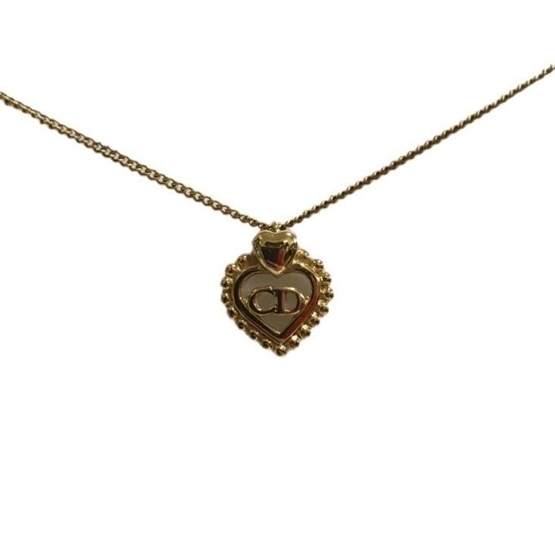 Christian Dior heart design necklace gold