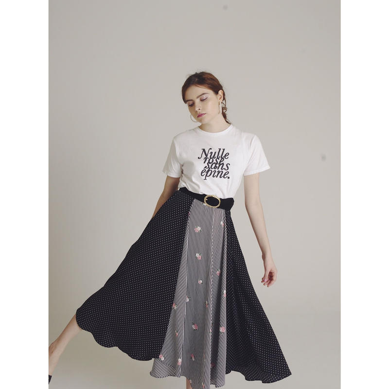 dot×stripe flower skirt
