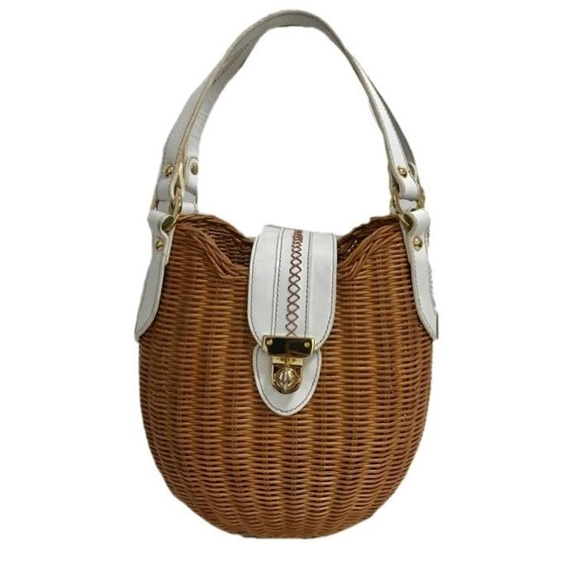white leather design basket hand bag