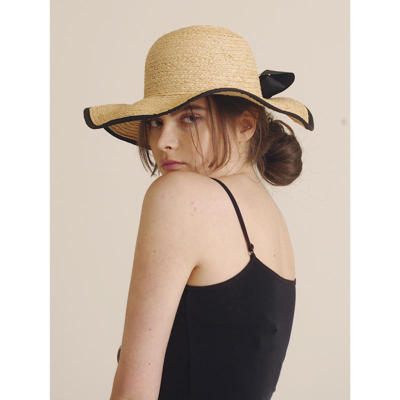 piping ribbon straw hat
