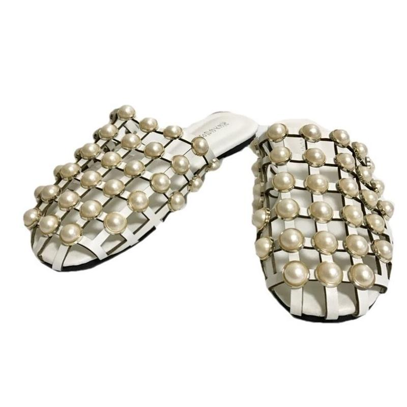 see-through pearl sandal white