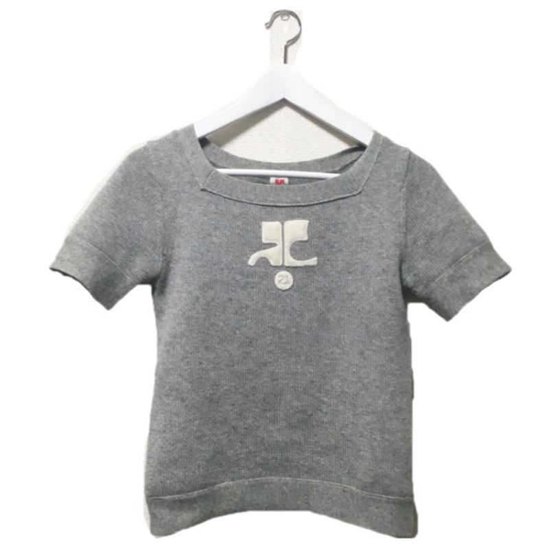 courrèges logo knit gray