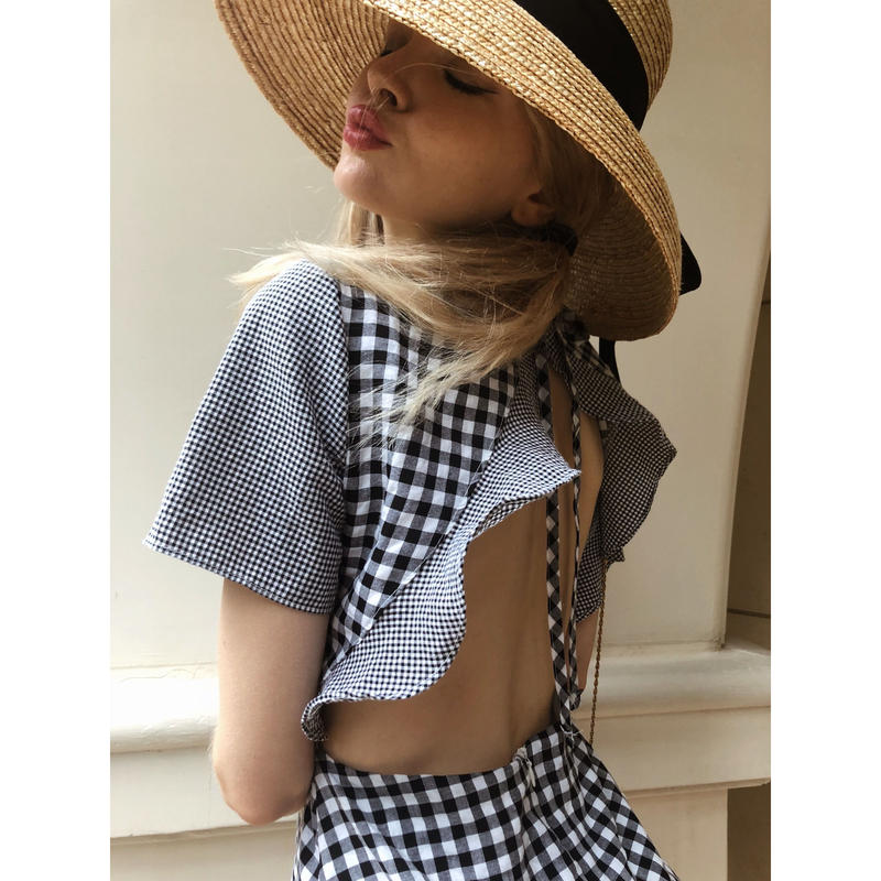 back open gingham check onepiece