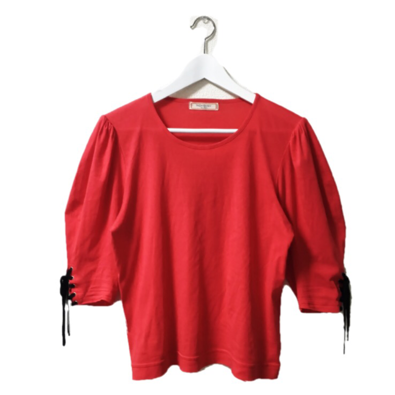 Yevs Saint Laurent  lace-up red tops