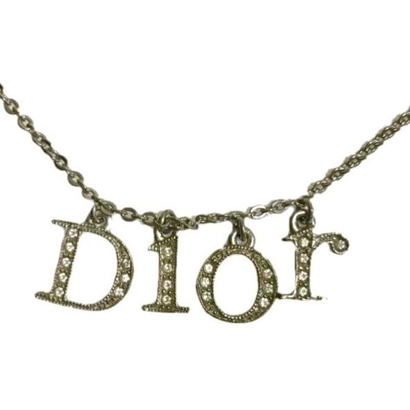 Dior rhinestone logo necklace