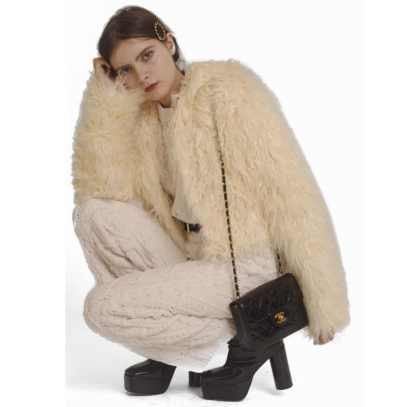 hood 2way volume fur coat white