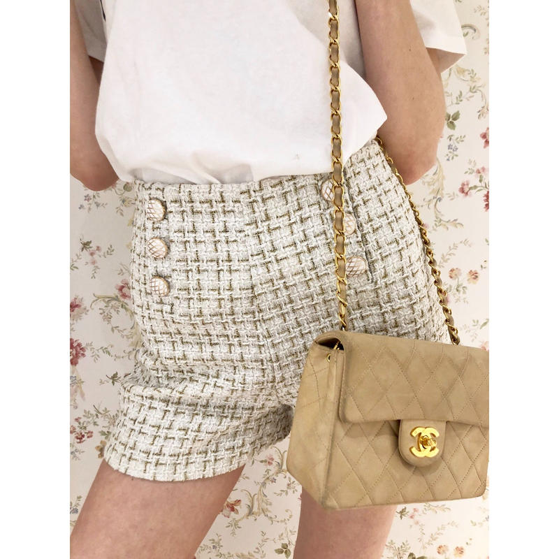 tweed double botton short pants ivory