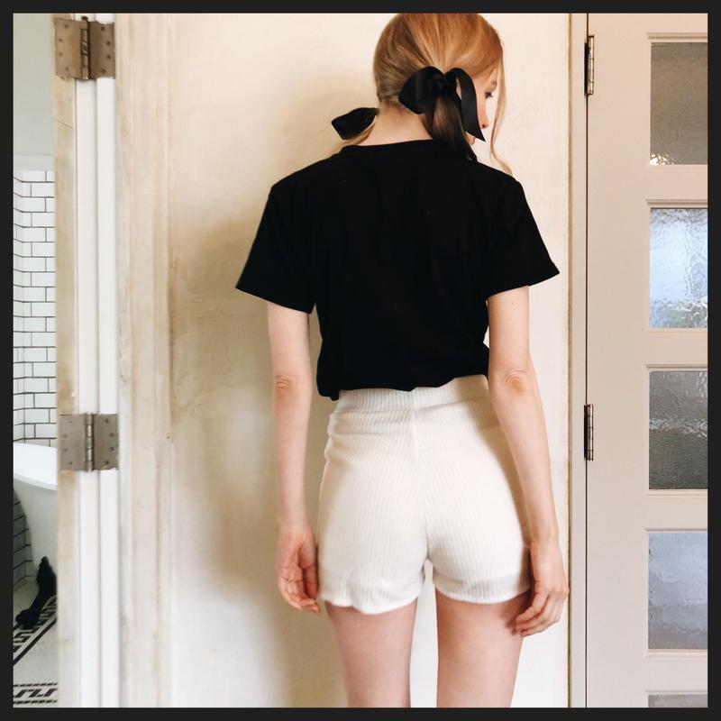 lib summer knit short pants ivory