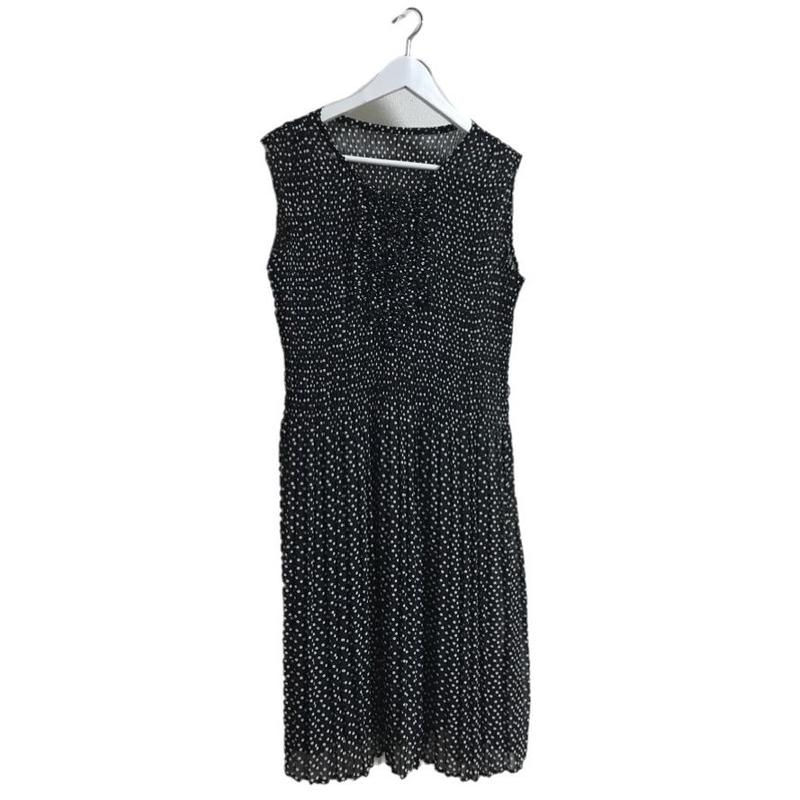 pleats see-through dot one-piece