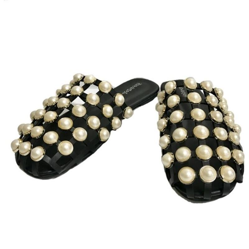 see-through pearl sandal black