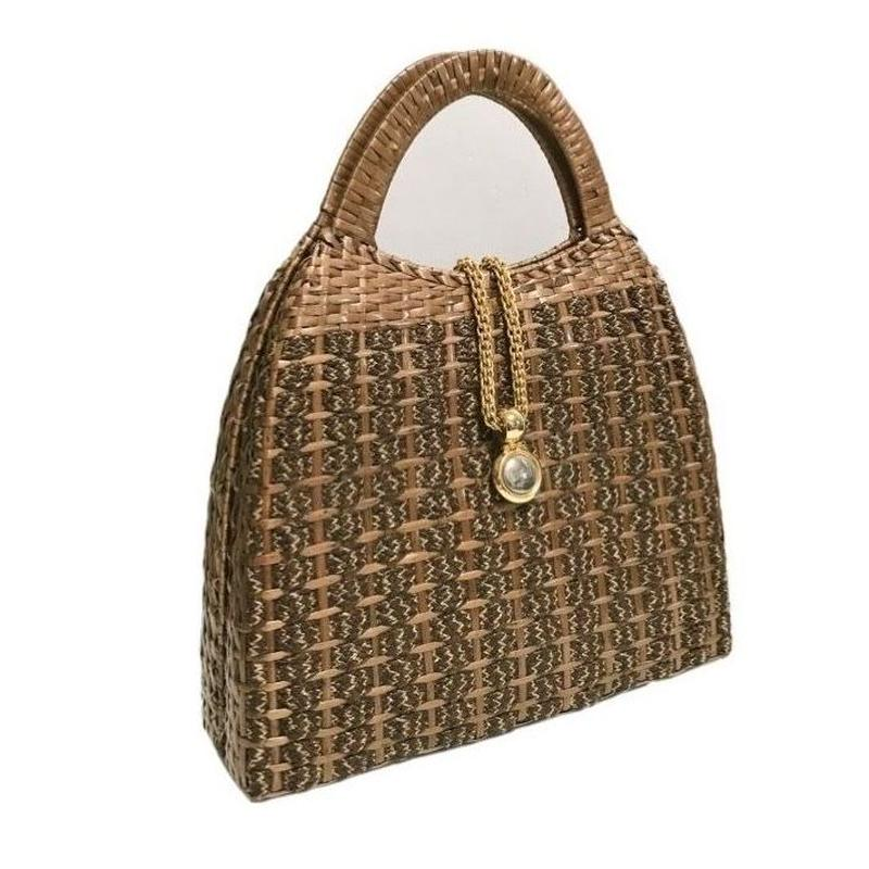gold chain tweed design handbag brown