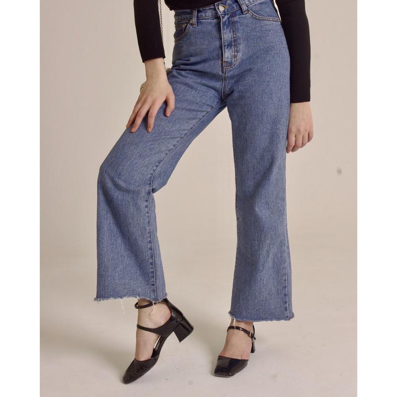 high waist light blue denim