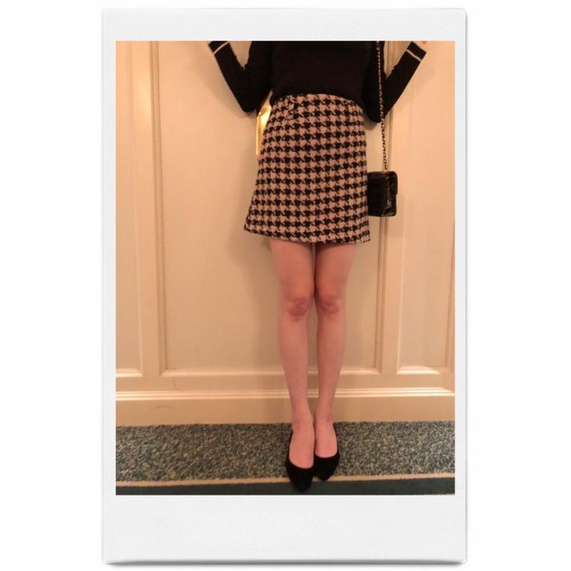 tweed  check mini skirt