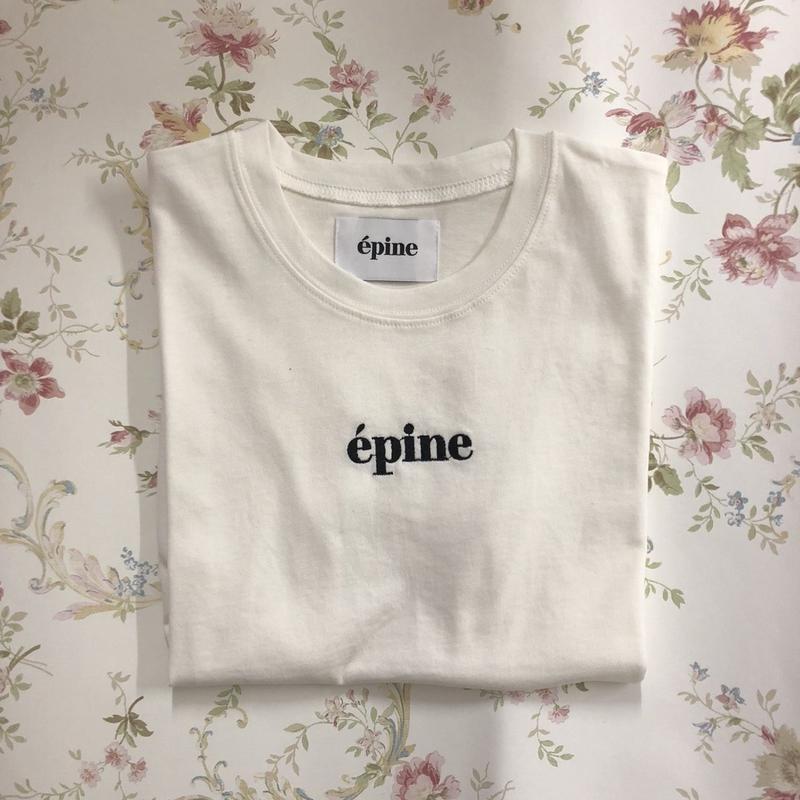 epine embroidery tee white×black