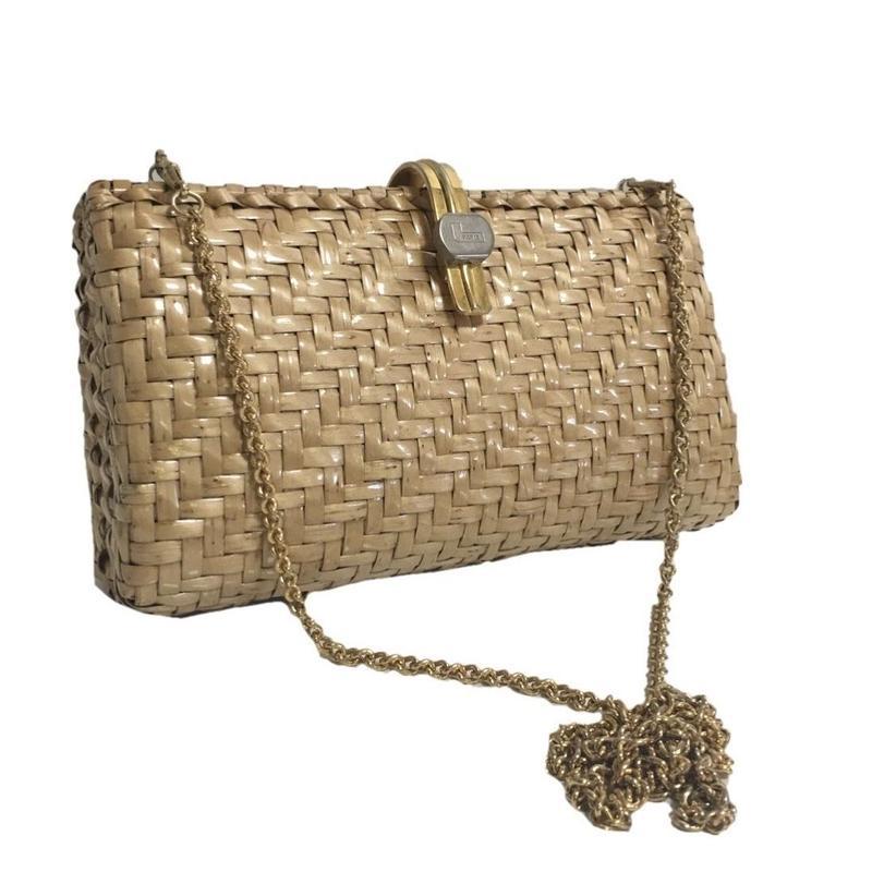 LANCHEL square basket chain shoulder bag