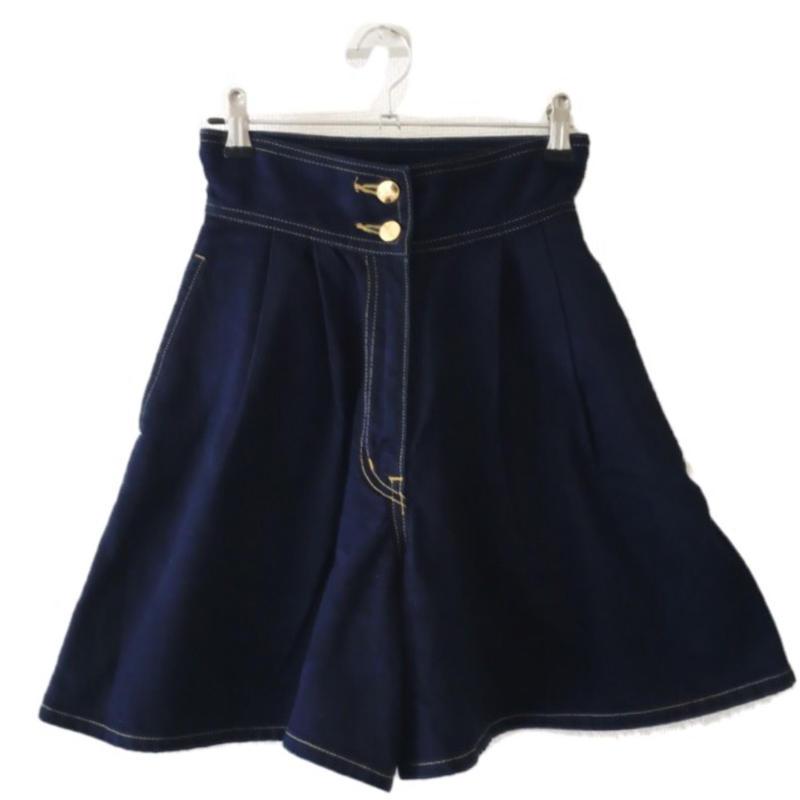 YSL logo denim short pants