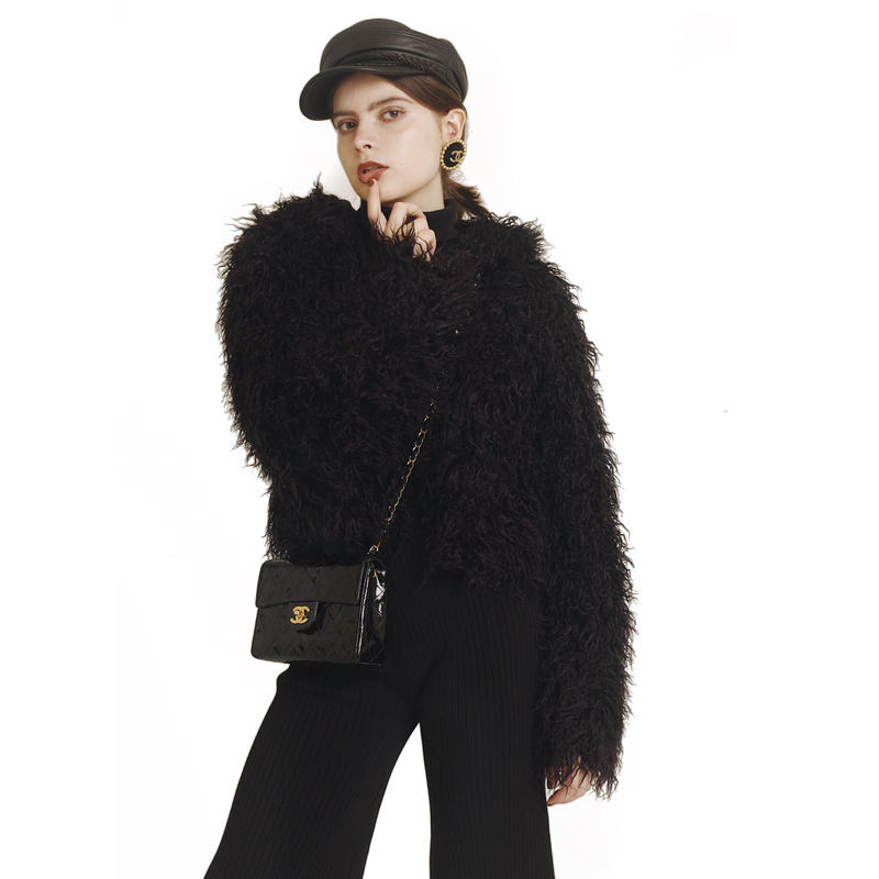 hood 2way volume fur coat black
