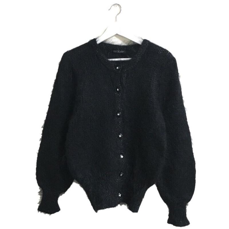 lamé design knit cardigan black
