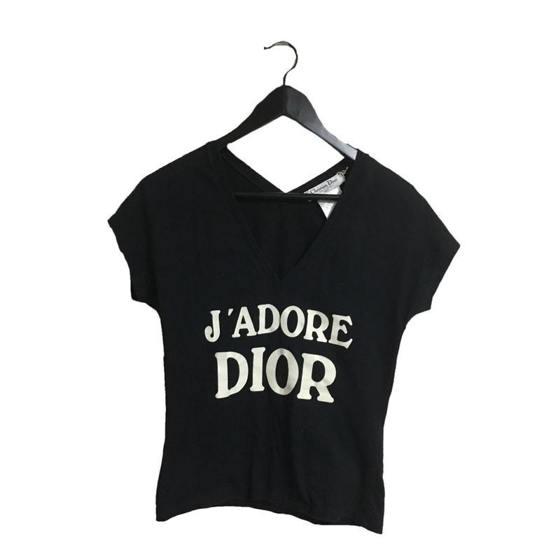 Dior logo v neck tee black(No.2945)