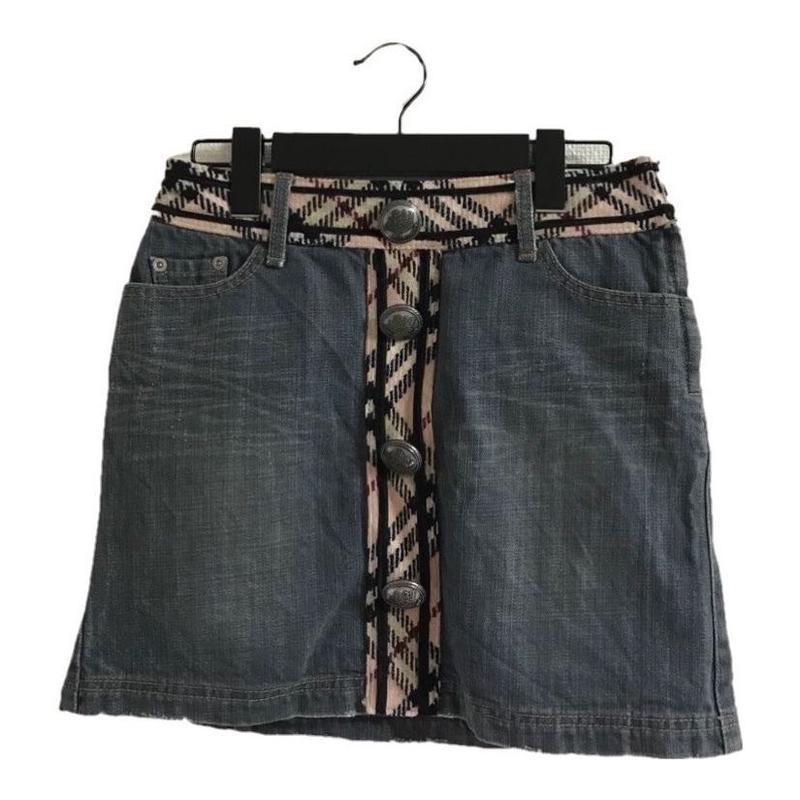 Burberry check wool denim mini skirt(No.3038)