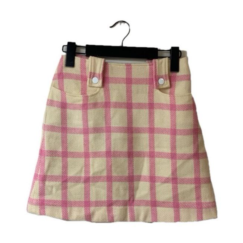 courrèges  check design wool mini skirt(No.3293)