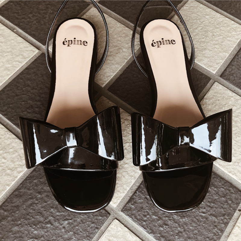 big ribbon 2way sandal enamel black