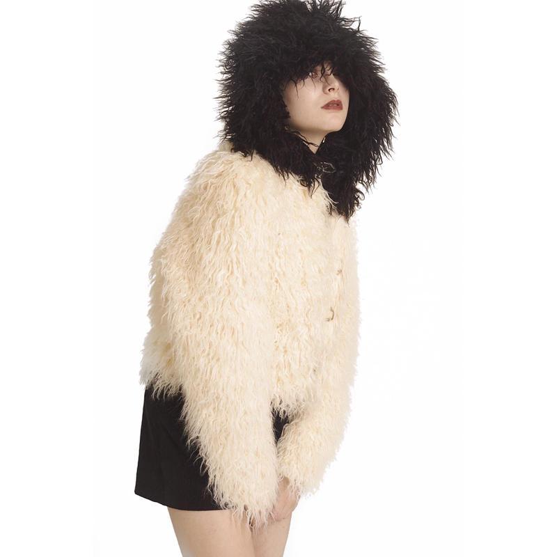hood 2way volume fur coat bi-color white