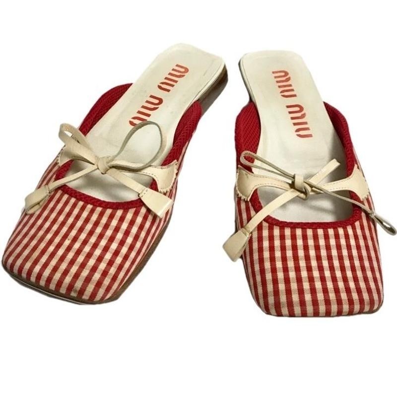 【スペシャルプライス】miu miu gingham check ribbon flat sandal