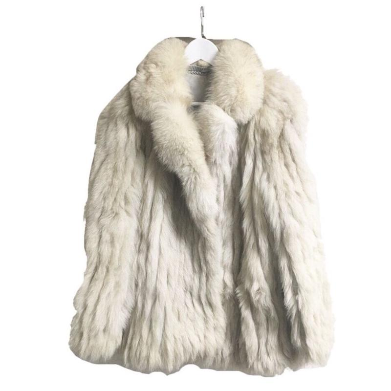 real fox fur coat ivory