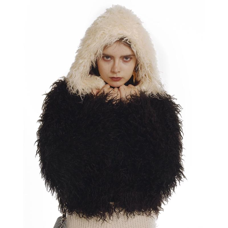 hood 2way volume fur coat bi-color black
