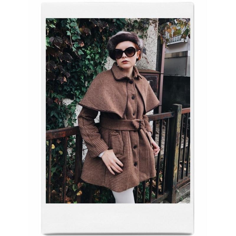 piping cape 2way coat brown check