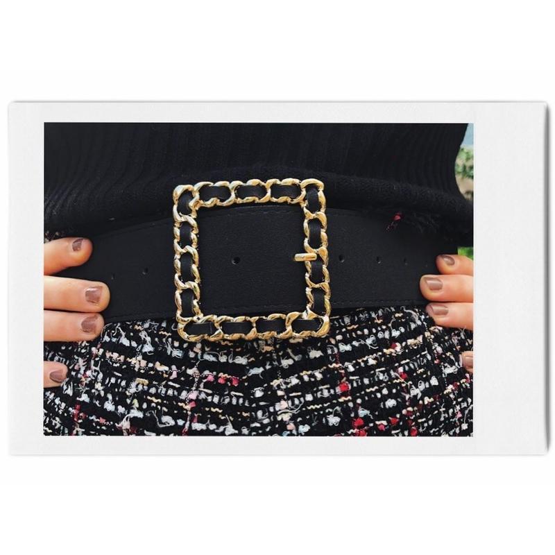 square chain buckle suède belt black