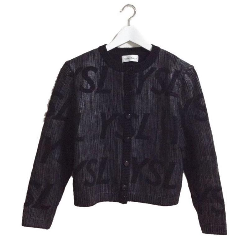 YSL logo design knit cardigan