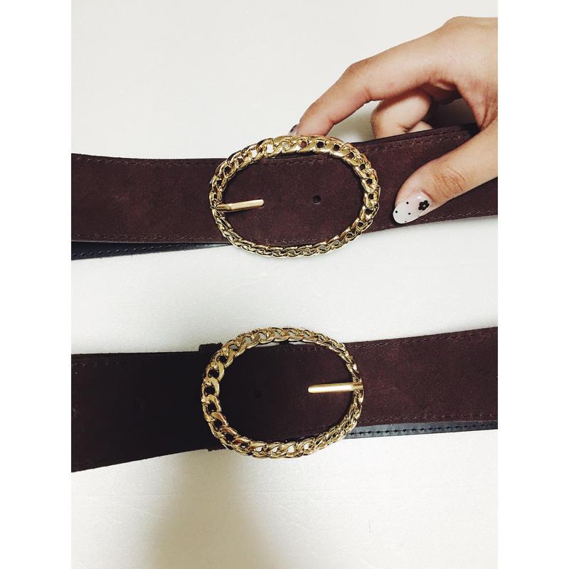 gold buckle suède belt brown