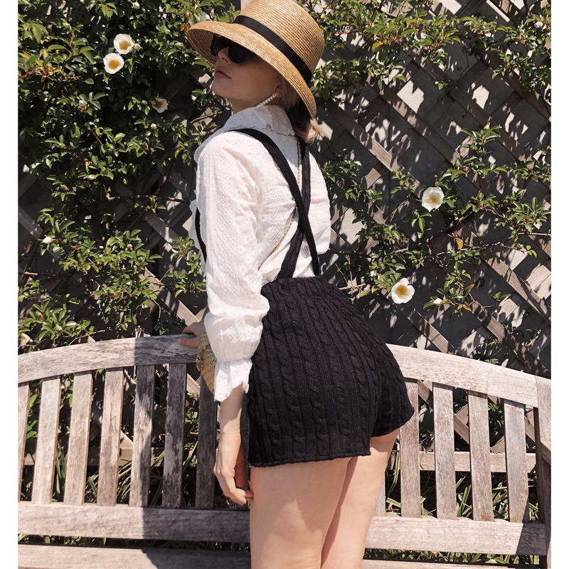 cable knit 2way short pants black