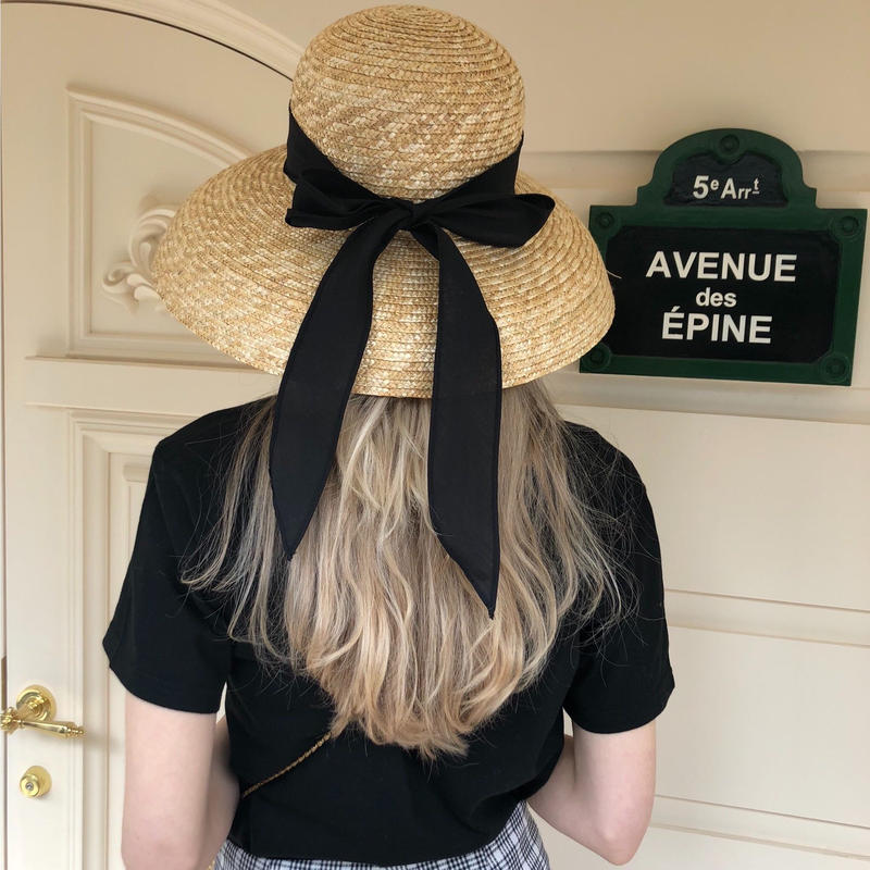 classical ribbon wide hat