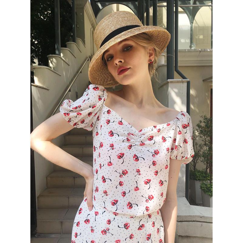 cherry dot square neck blouse