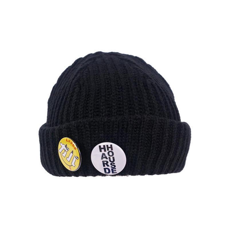 BADGE KNIT CAP / BLACK