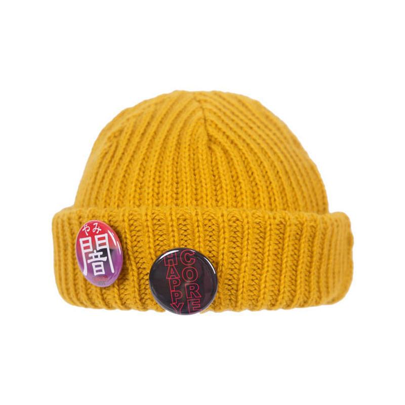 BADGE KNIT CAP / MUSTARD