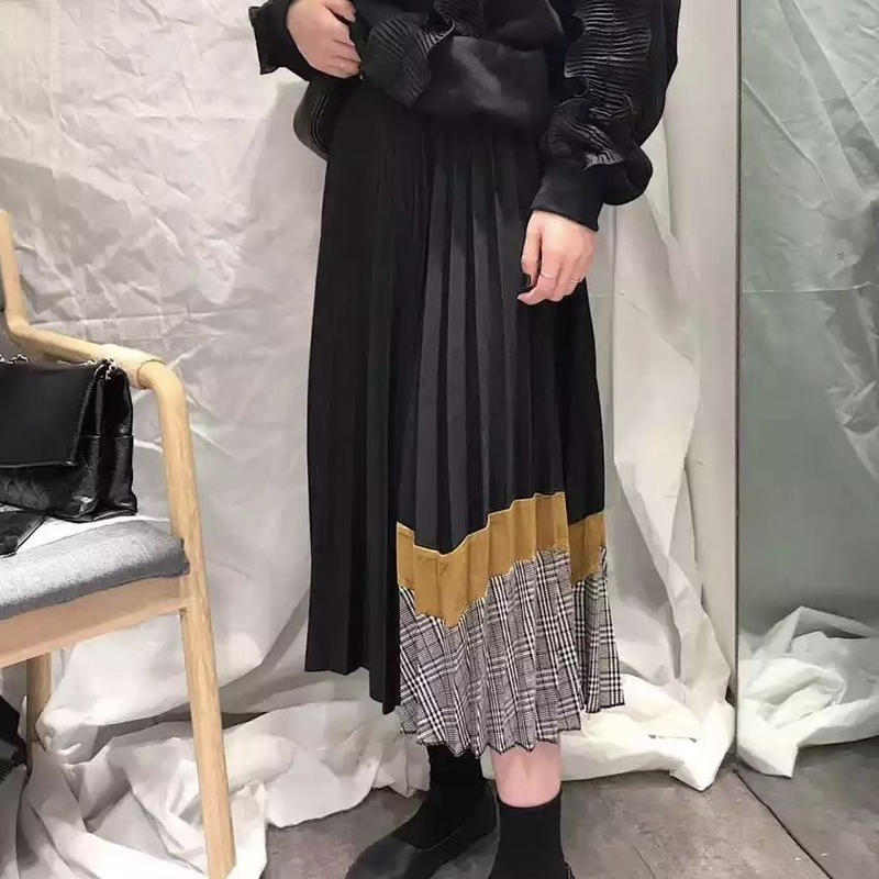 【EruMon】チェックプリーツミックススカート プリーツスカート ロングスカート チェックスカート